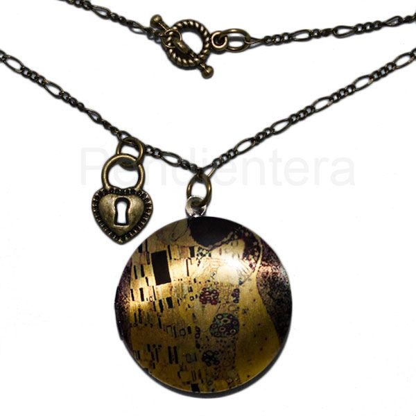 Collar largo locket El beso de Klimt