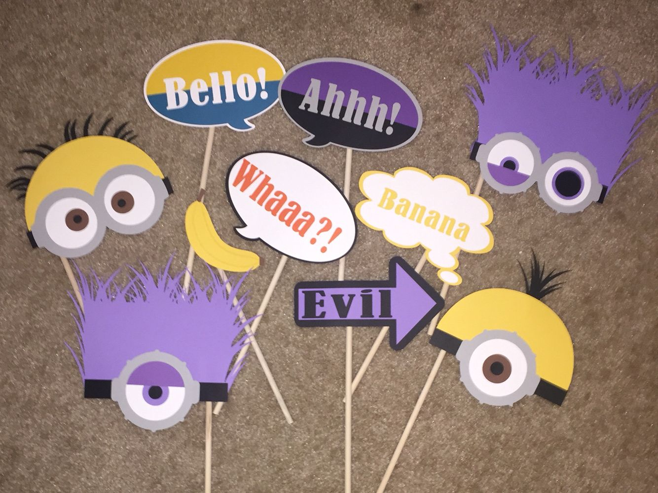 Minion photo booth props. Check out my other minion party decorations also!