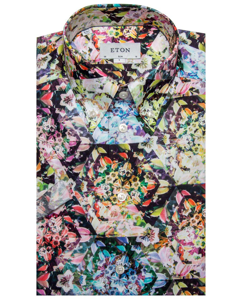 44d92371 Eton Multicolor Kaleidoscope Floral Print Shirt   M E N ...