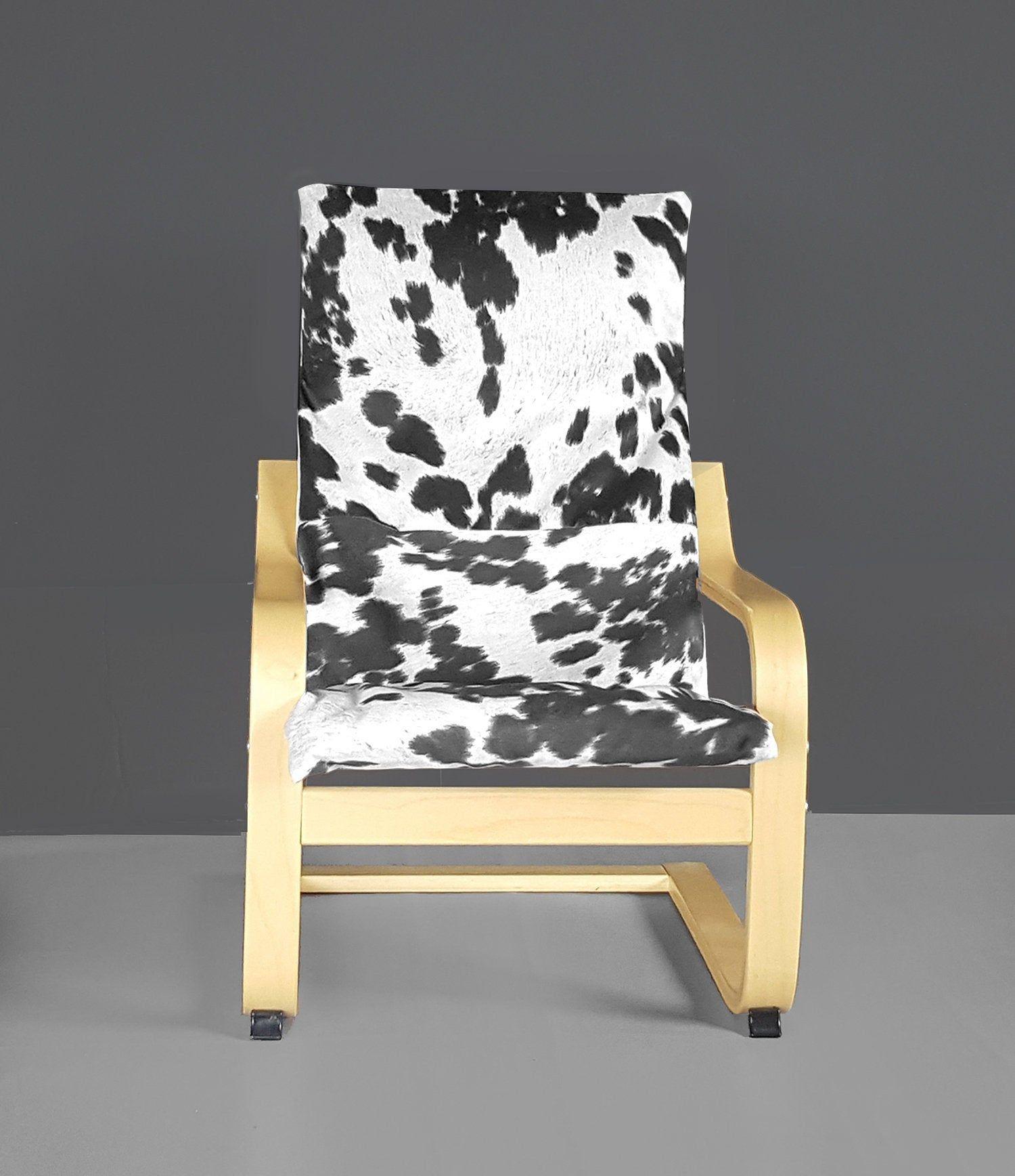 Black Faux Cowhide Animal Print IKEA KIDS POÄNG Cushion