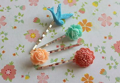 Set of 4 Beautiful Resin Hair Pins Mixed Colours & Styles #1