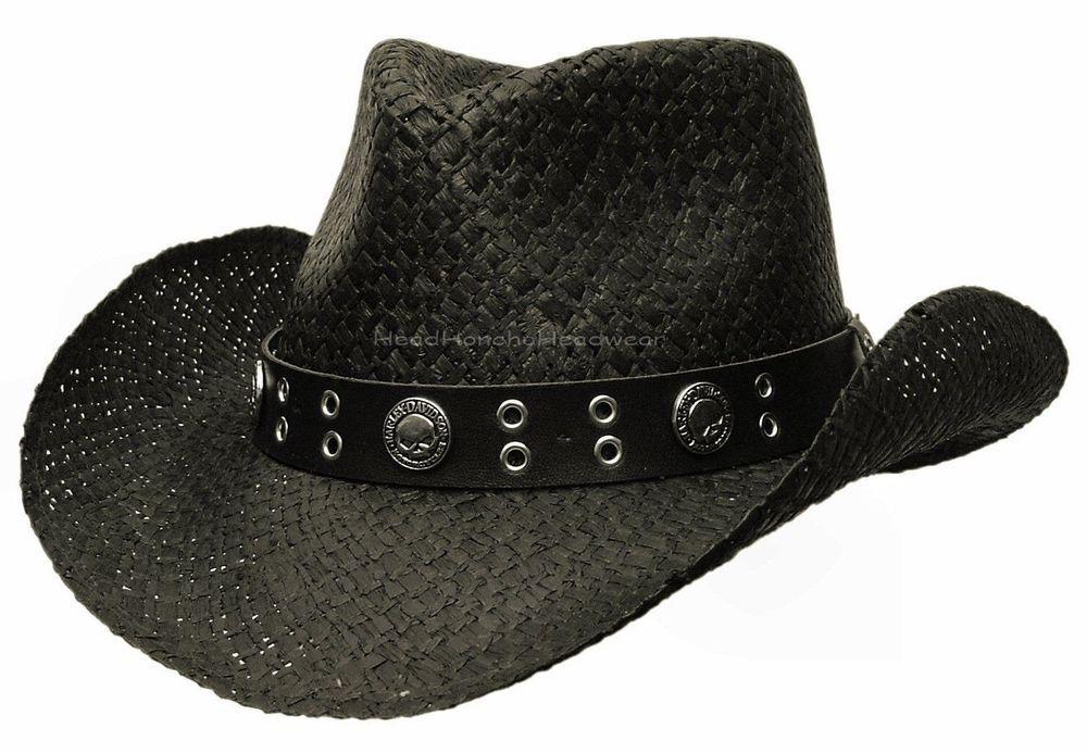 1c7671992 Details about HARLEY DAVIDSON WESTERN SKULL COWBOY HAT OUTBACK BLACK ...