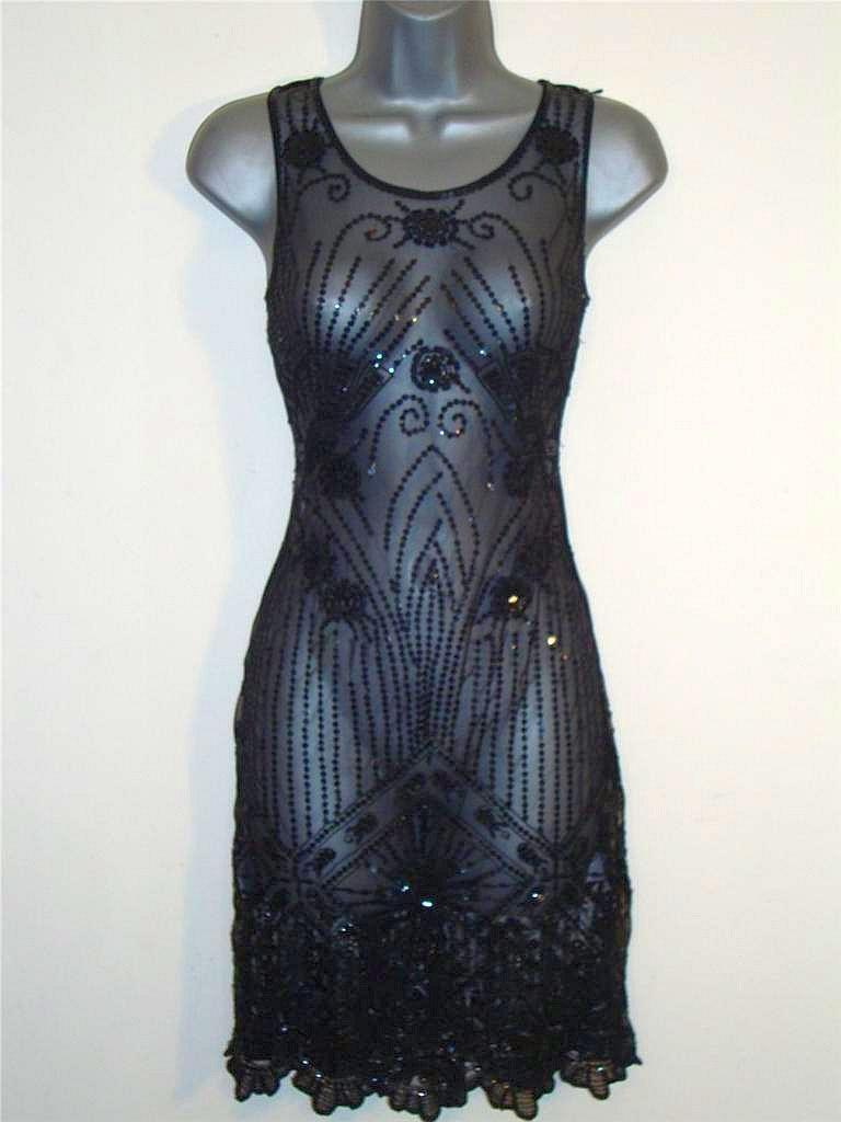 Oasis Dress (Vintage Sheer 20\'s Art Deco Sequin Flapper Dresses ...