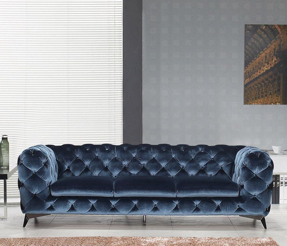 Divani Casa Delilah Modern Blue Fabric Sofa Blue Fabric Sofa Modern Fabric Sofa Cushions On Sofa