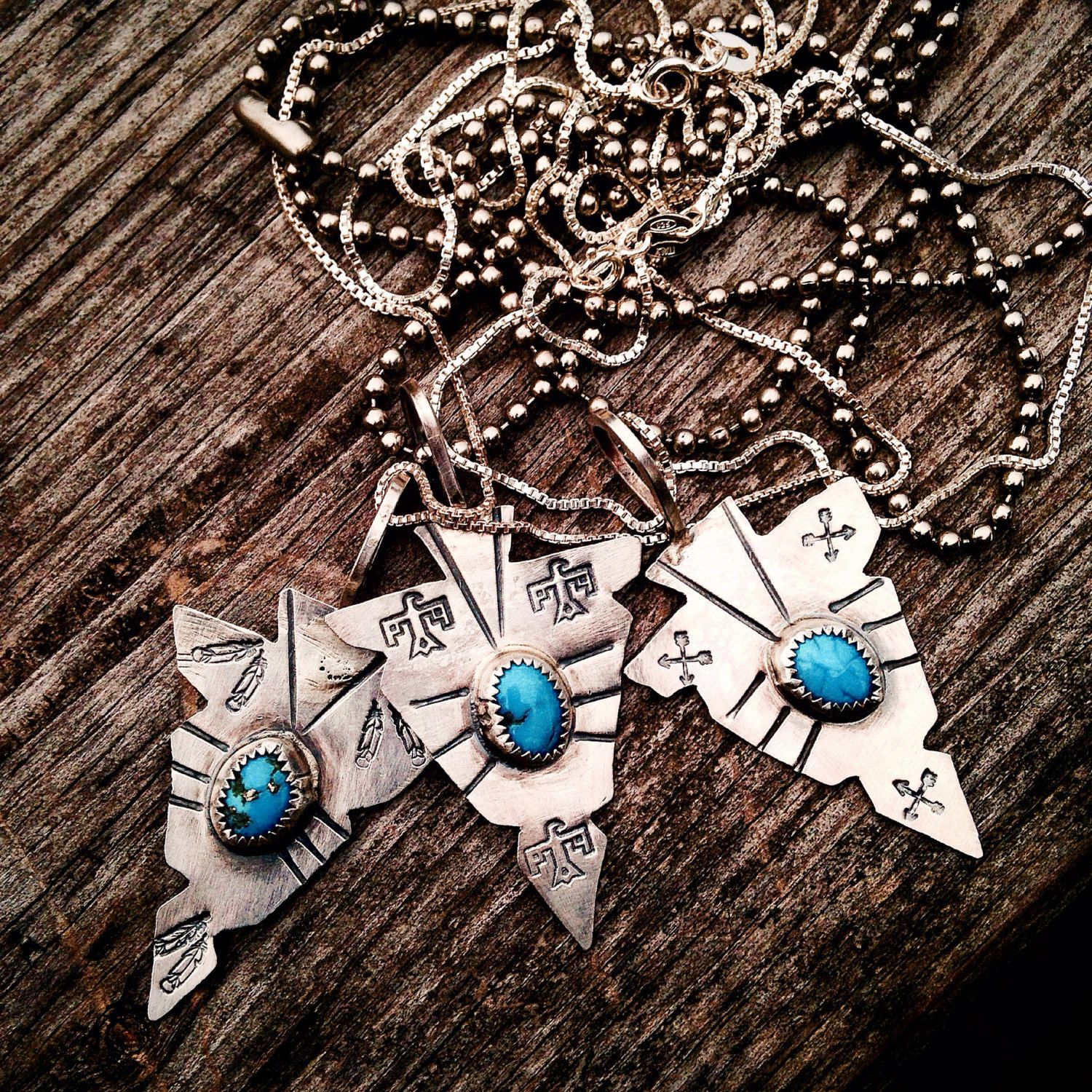 Sterling Silver and Sleeping Beauty Turquoise Arrowhead Pendants, with Sterling Silver Chain by MaedayMetals on Etsy
