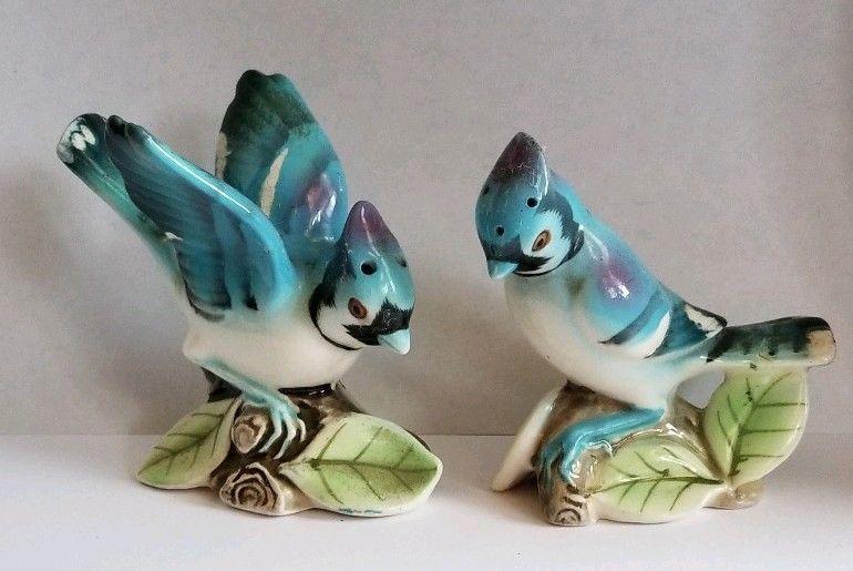Blue Jay Birds Salt and Pepper Shakers Ceramic