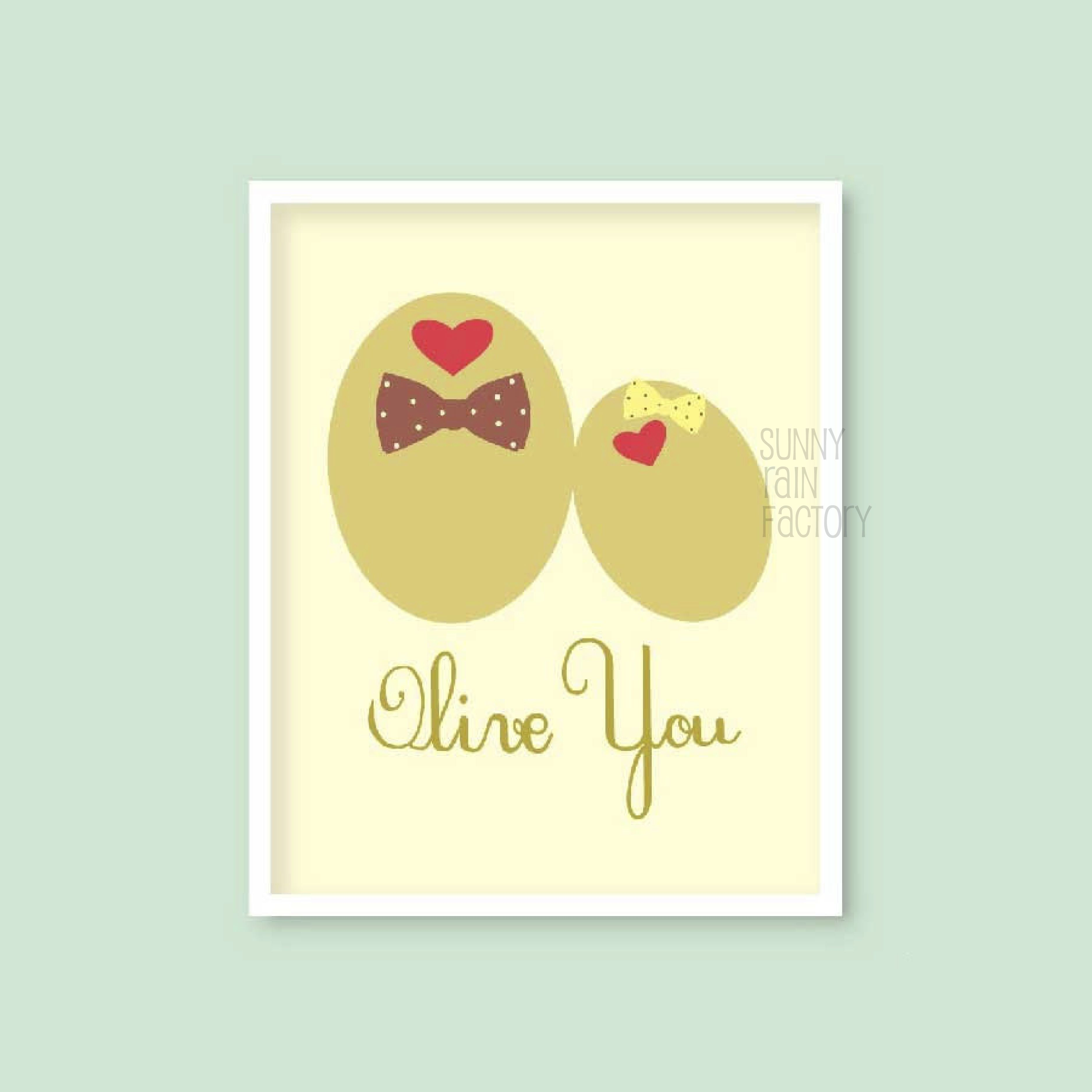 olive you valentine card PRINTABLE him her cute funny anniversary ...