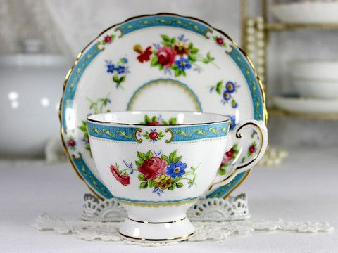 Vintage Tuscan Lowestoft Teacup and Saucer, English Bone China Tea Cup
