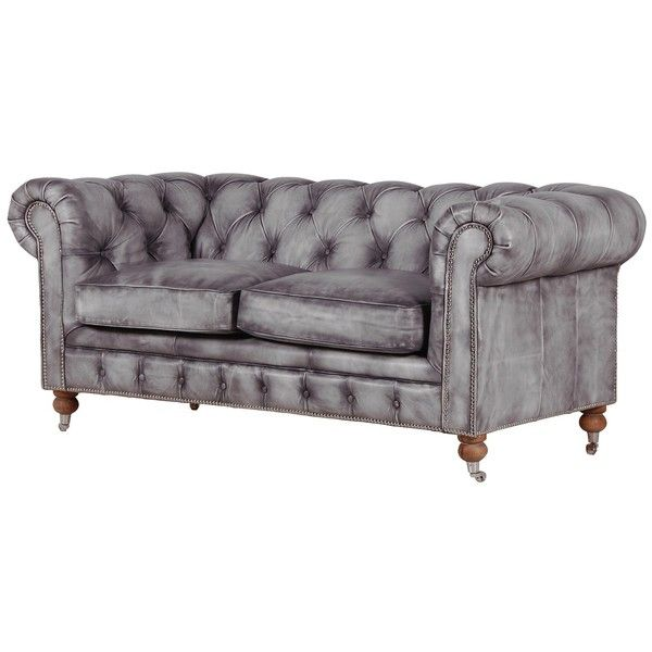 Bellagio Distressed Grey Leather Chesterfield Sofa 2 110 Liked On Polyvore Featuring Home Furniture Sofas
