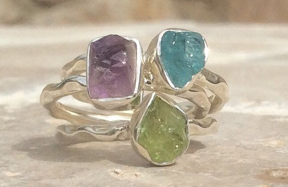 Raw Apatite Sterling Silver Hammered Finish Ring by LavantaBay