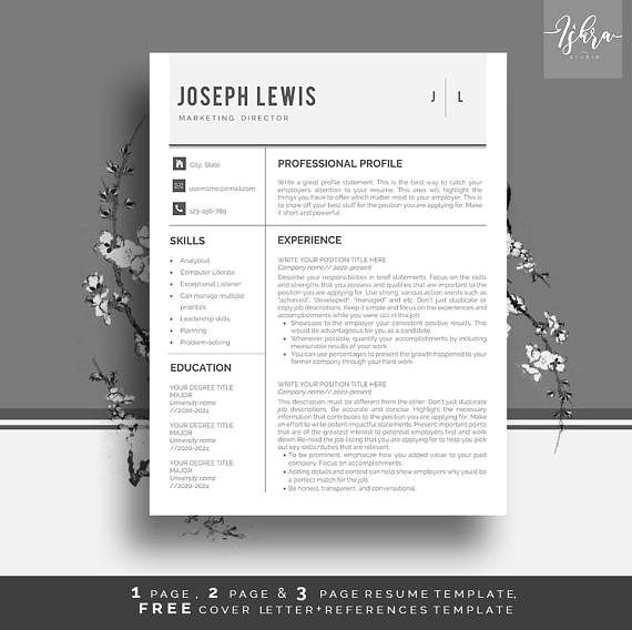 Buy One Get One Free Resume Template Professional Resume Template