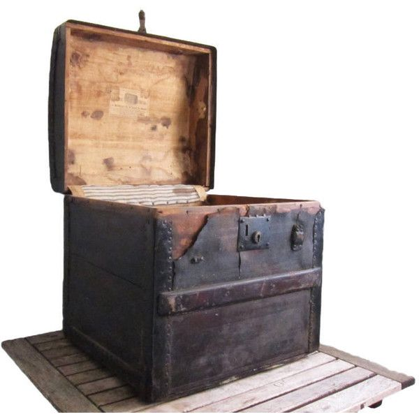 Wood and Leather Boston Vintage Storage Chest ($100) ❤ liked on ...