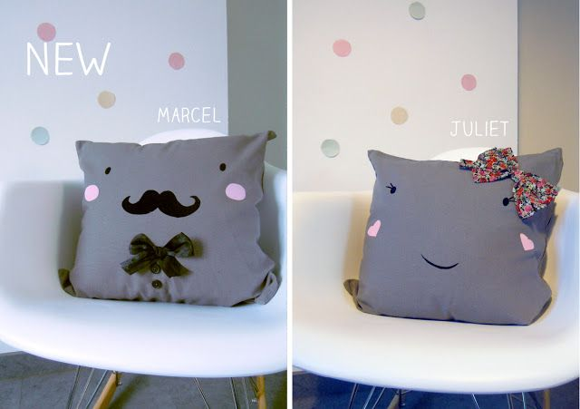 Marcel moustache + juliet pillow