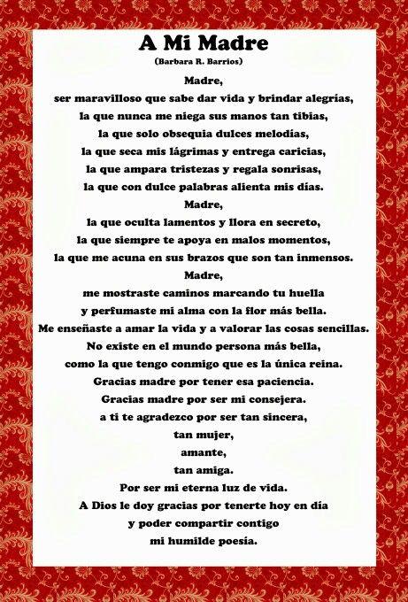 Poemas Bonitas Cartas Para El Dia De La Madre Pin De Veronica Aguilera En Mother S Day Ideas Poema Para La