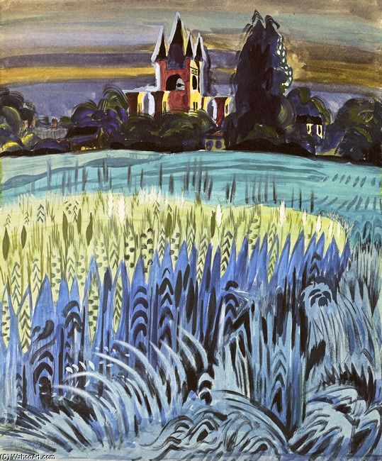 """Charles Burchfield """"Wheat Field with Tower"""", 1917 (USA, American Scene Painting, 20th cent.)"""