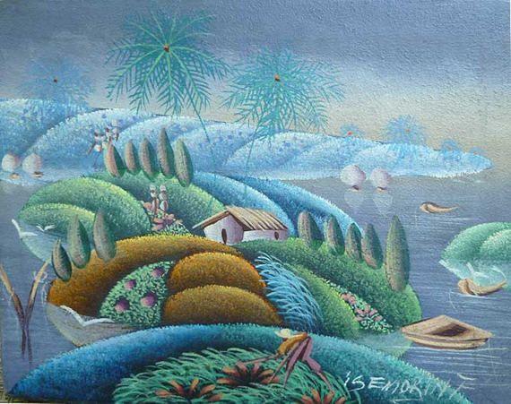 Art Haïtien Haïtienne Peinture Toile Art Pastel Sec | Flamboyant