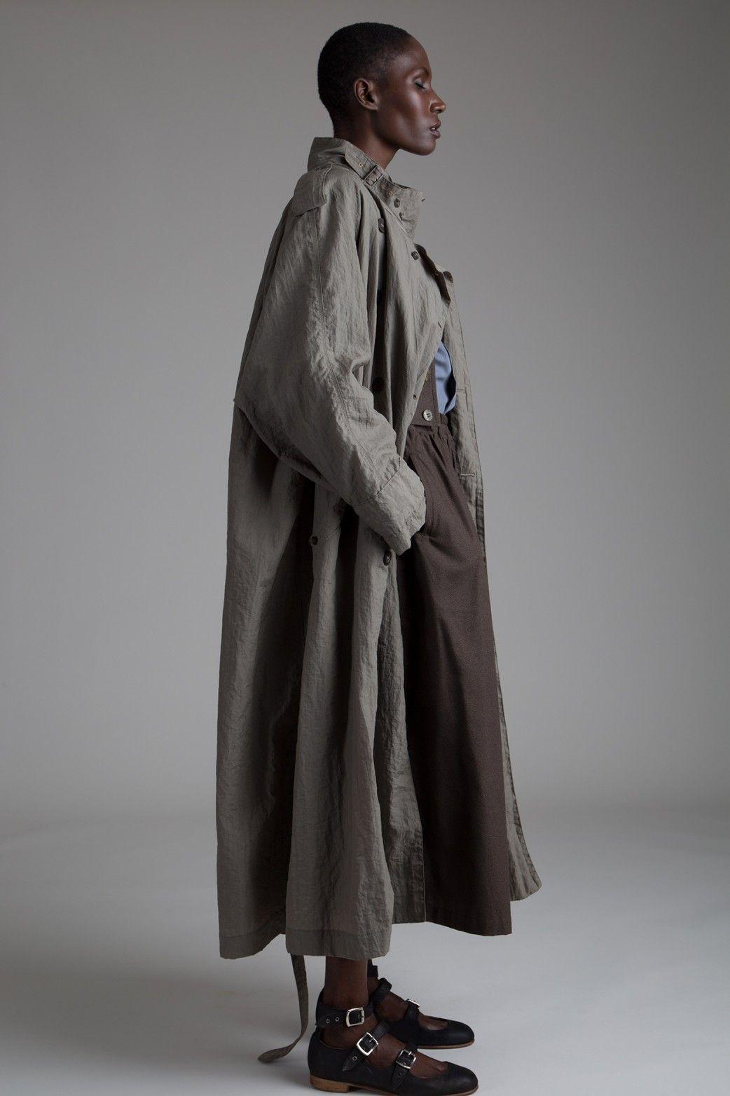 matsuda trench coat issey miyake plantation skirt and