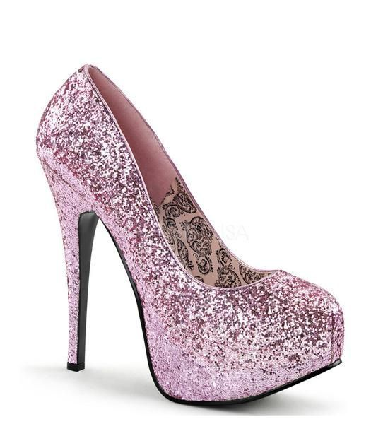 Teeze pump in baby pink glitter pump has a 5 3/4