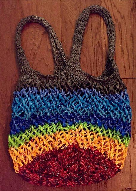 Free knitting pattern for Market Bag made of plastic bag ...