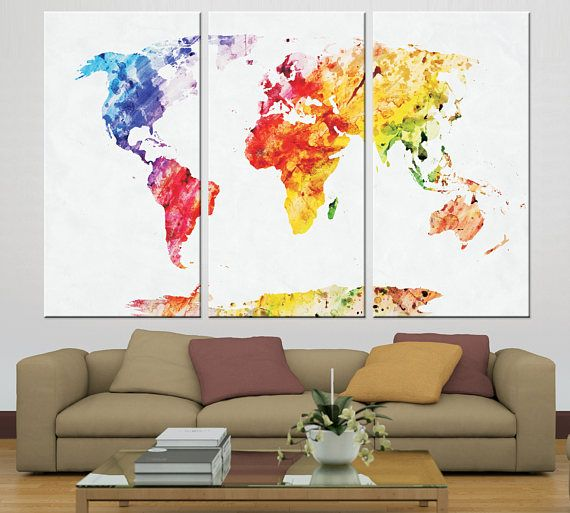 Large watercolor world map canvas panels set ready to hang world large watercolor world map canvas panels set ready to hang gumiabroncs Choice Image