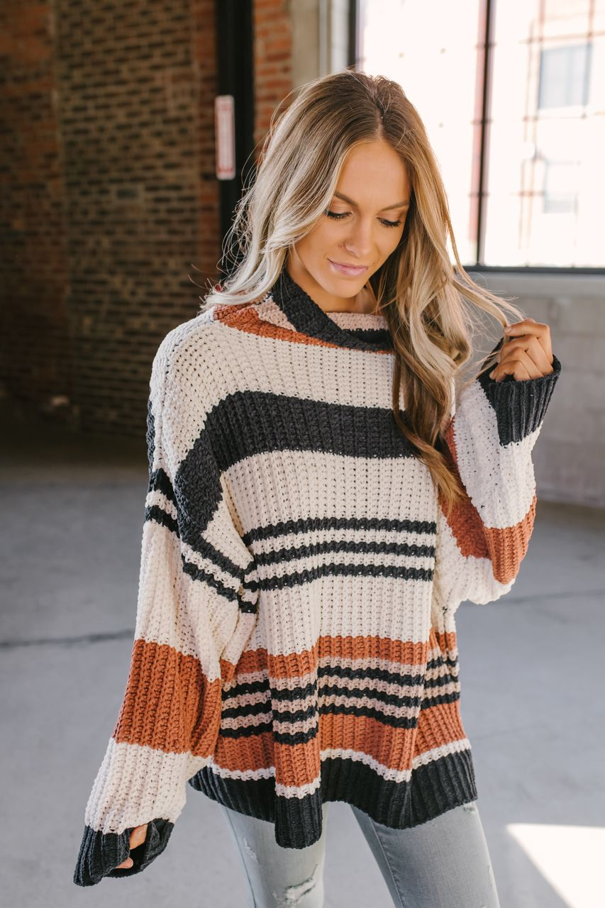 b15a6a32758216 Rising Sun Striped Chenille Turtleneck Sweater - Black Multi - FINAL ...