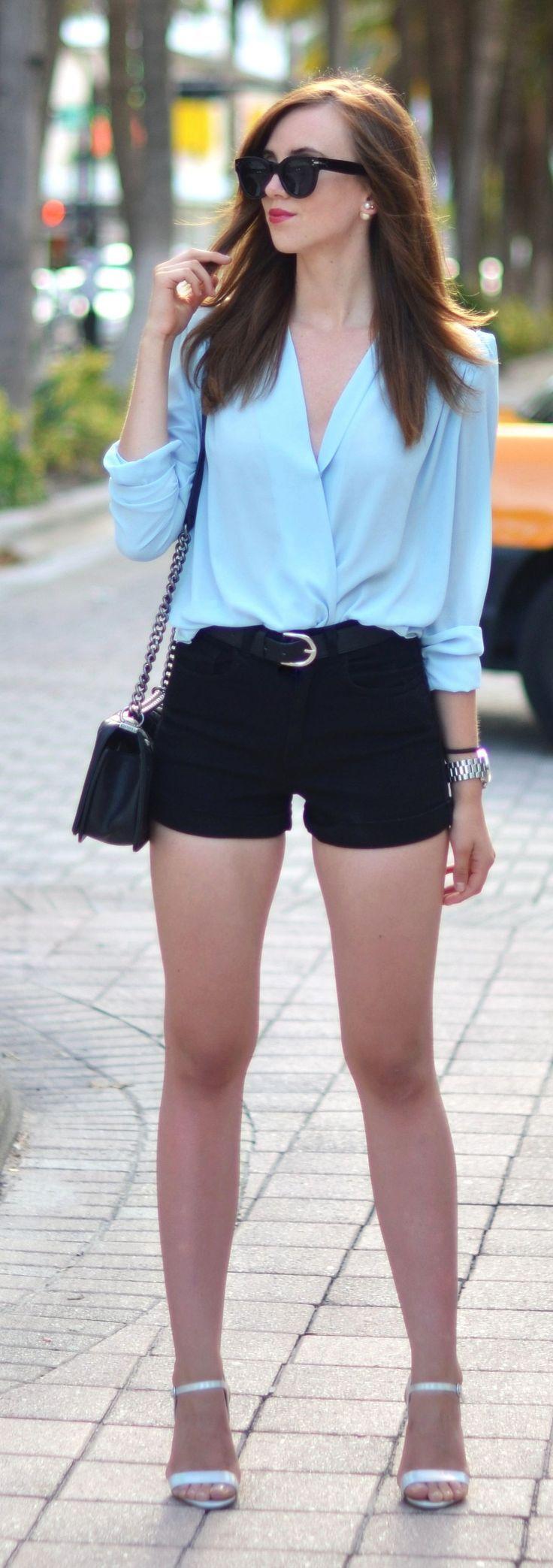 Baby Blue Wrap Blouse Outfit Idea by Vogue Haus - blue blouse ...