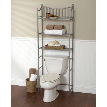 Metal Spacesaver Bath Storage Rack 3 Shelf Satin Nickel Walmart Com Bathroom Storage Over Toilet Shelves Over Toilet Over Toilet