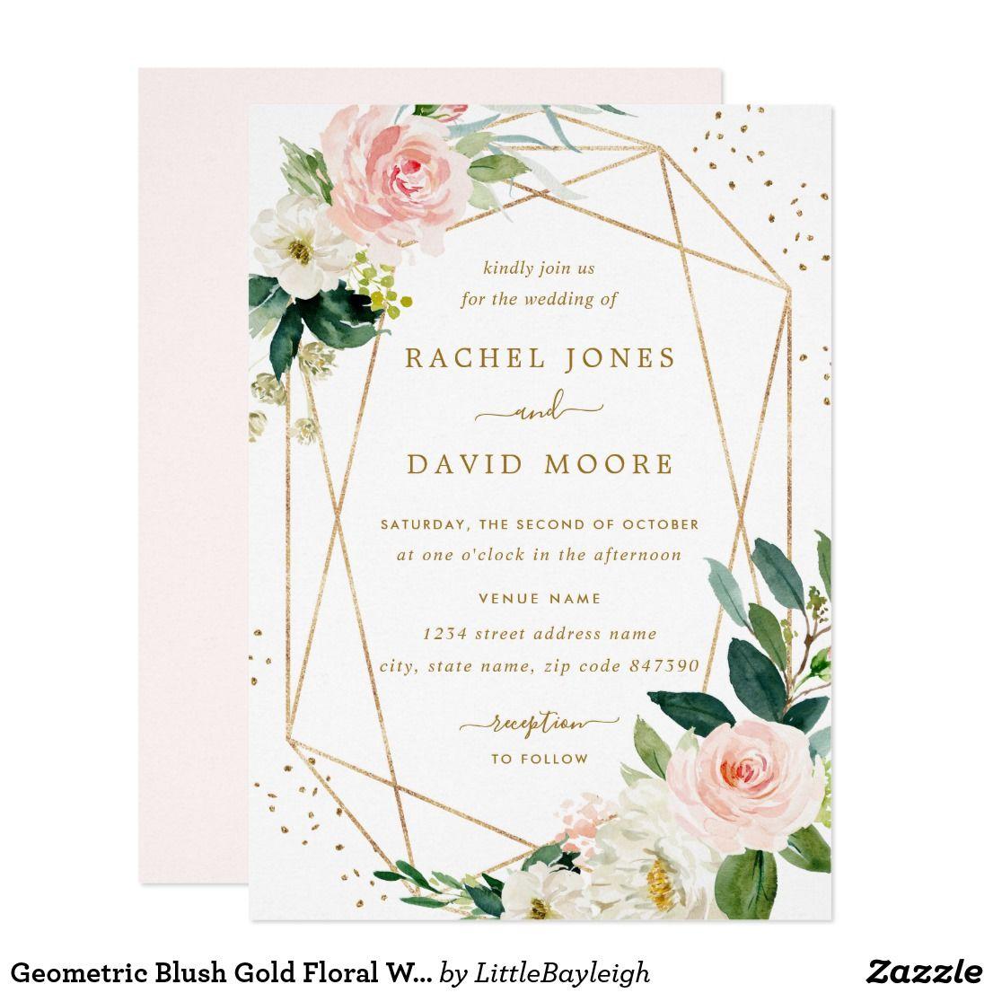 Geometric Blush Gold Floral Wedding Invitation Zazzle Com Floral Wedding Invitations Bubbly Bridal Shower Modern Floral Wedding Invitations