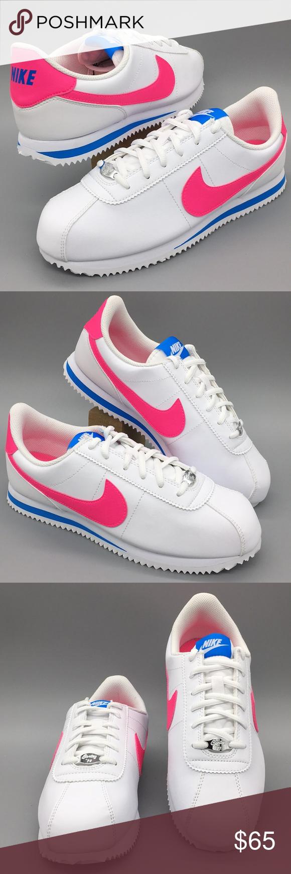 904764 107 Nike Cortez Basic SL White//Hyper Pink-Photo Blue GS