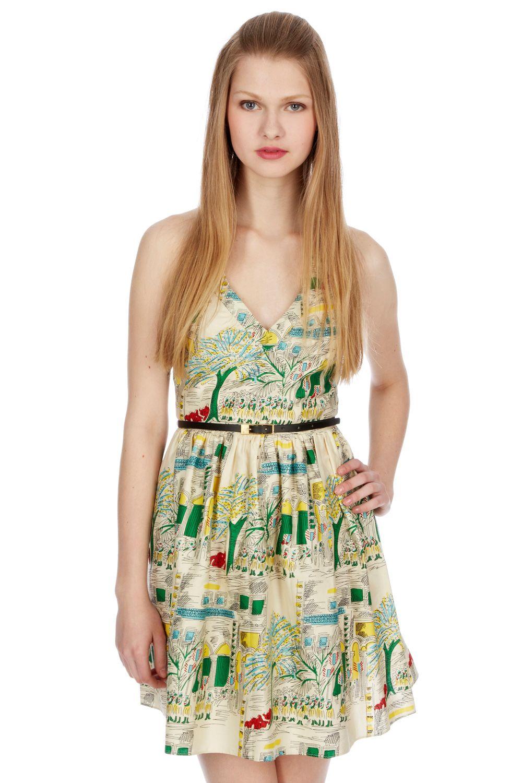 Multi Sicilian Knight Dress Summer Chic Look With A Scenic Print Dresses High Fashion Street Style Leopard Print Dress [ 1500 x 1000 Pixel ]