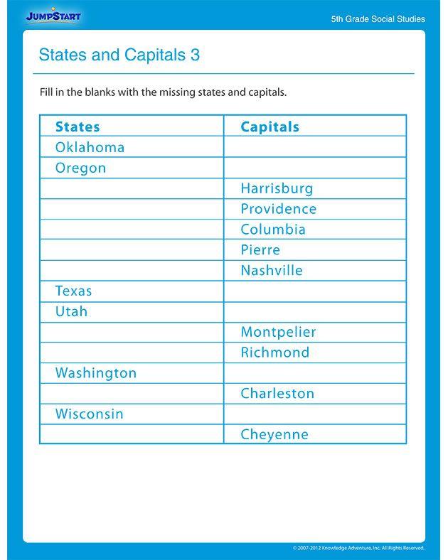 3rd Grade free 3rd grade social studies worksheets : States and Capitals 3 – Social Studies Worksheet | Social Studies ...