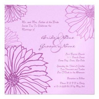fall wedding flowers purple   Light Purple Mum Flowers Wedding Invitation