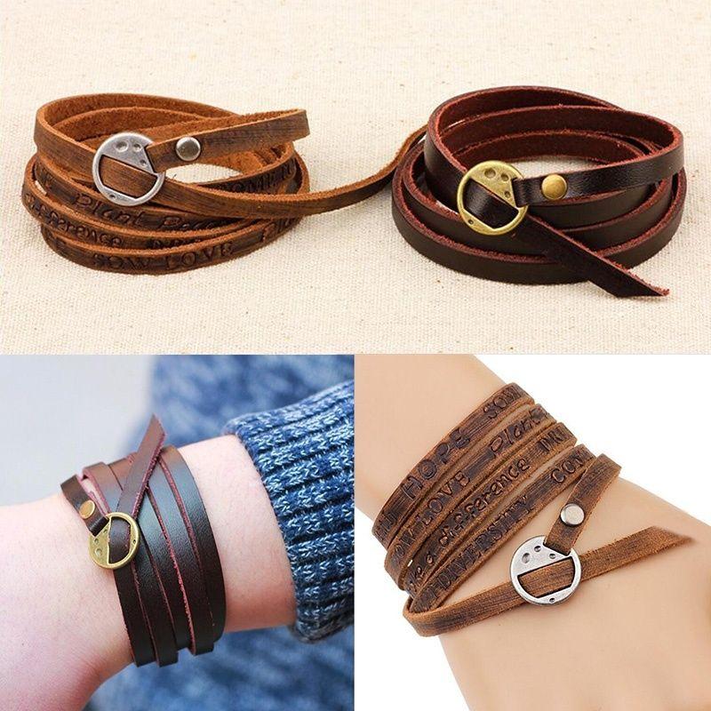 Mode Rétro Multicouche en cuir bracelet bracelet manchette Bracelet Hommes Femmes D