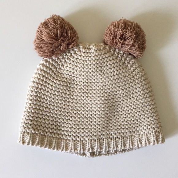 """Zara Baby Winter Hat Adorable Zara Baby hat! Knit hat with little Pom Pom ears. In color """"sand"""". Size is 1-6 month. I cut the tag out of the inside as you can see from the picture but I double checked my order history to see that that was the size. It fit my daughter up to 9 months, however she ended up not using it much at all. Zara Accessories Hats"""