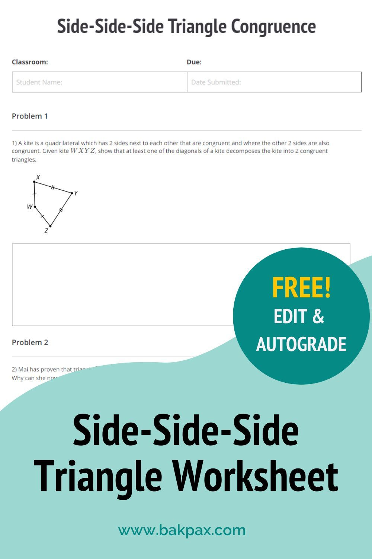 Free Side Side Side Triangle Congruence Geometry Worksheet In 2020 Geometry Worksheets Worksheets Online Learning