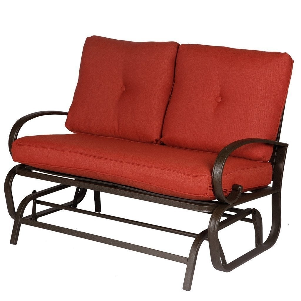 2 Person Loveseat Cushioned Rocking Bench Furniture Patio Swing Rocker Lounge Glider Chair Outdoor Brick Red