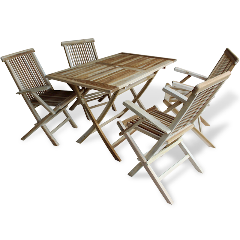 Vidaxl Teak 5pc Outdoor Furniture Bistro Set Folding Garden Table