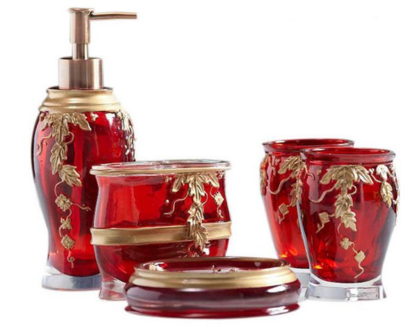 exciting red bathroom accessories sets | 20 Fascinating Red Bathroom Accessories | Red bathroom ...