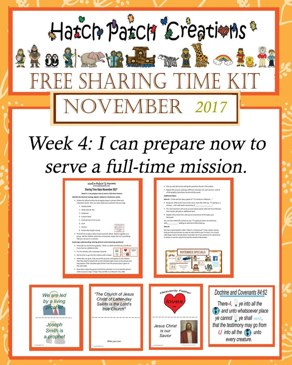 Free Sharing Time kit: November 2017 week 4: I can prepare now to