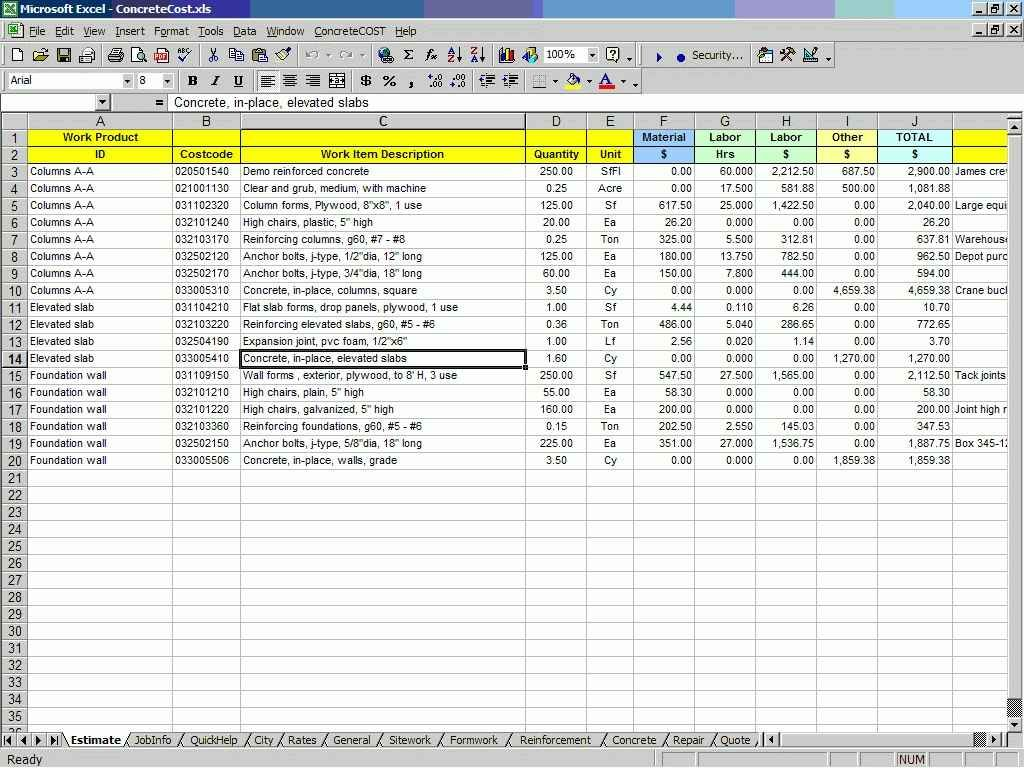 House Building Cost Spreadsheet In