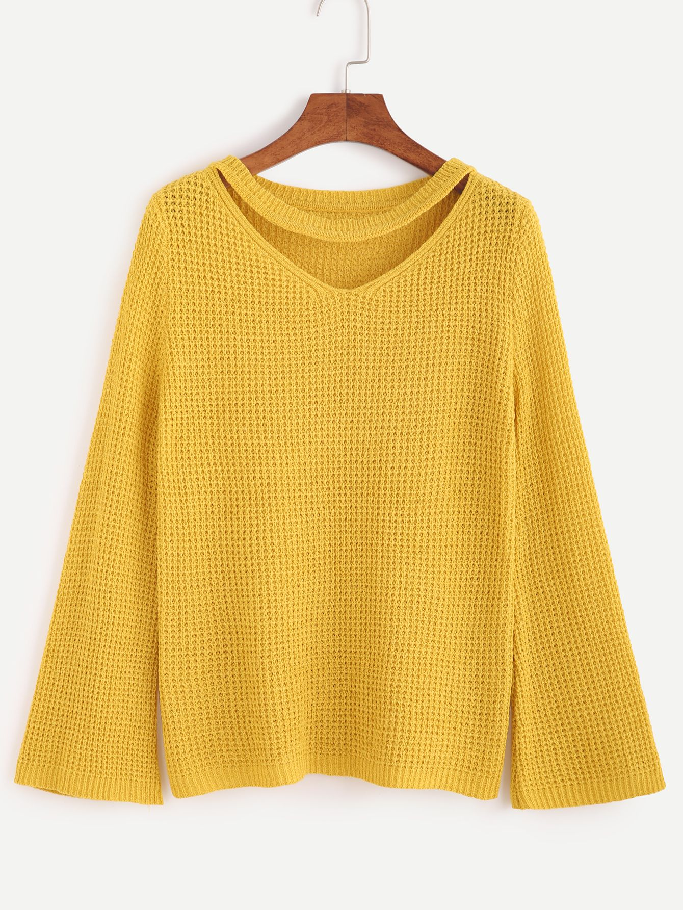 Shop Yellow Cut Out Neck Sweater online. SheIn offers Yellow Cut ...