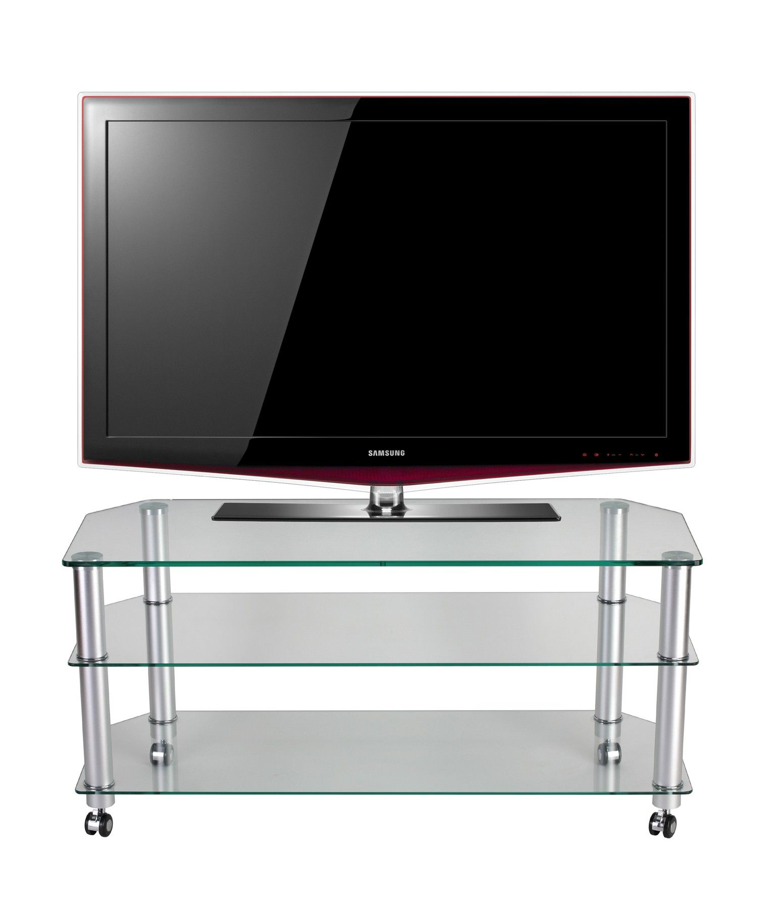 """Clear Glass TV Stand TV Trolley by Stil Stand for up to 50"""" TVs"""