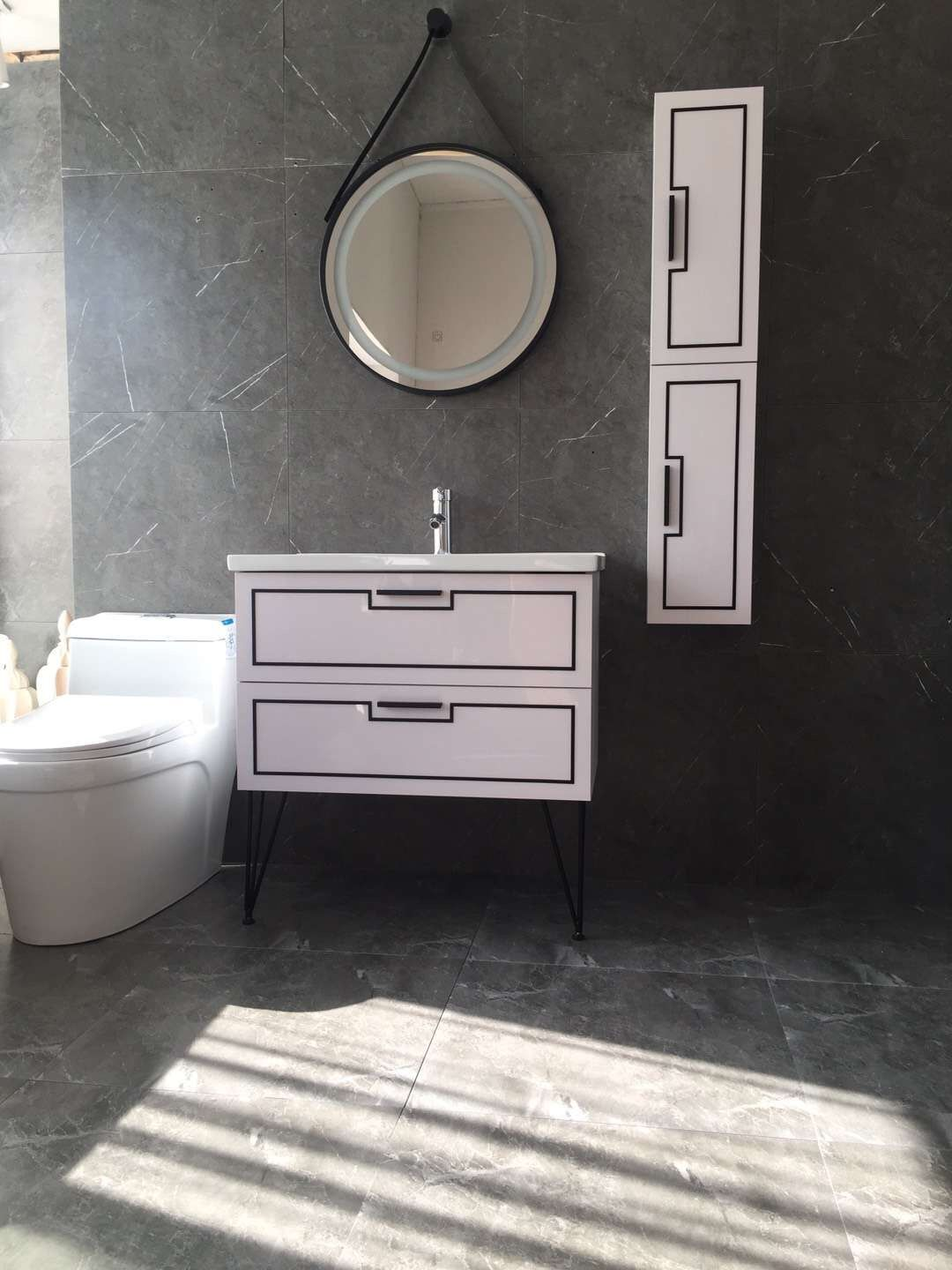 New Model Round Mirror Wall Mounted Vanity Cabinet Side Cabinet