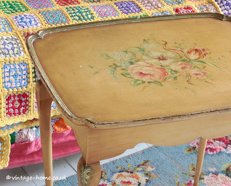Vintage Home Shop - Pretty 1940s Hand Painted Floral Table: www ...