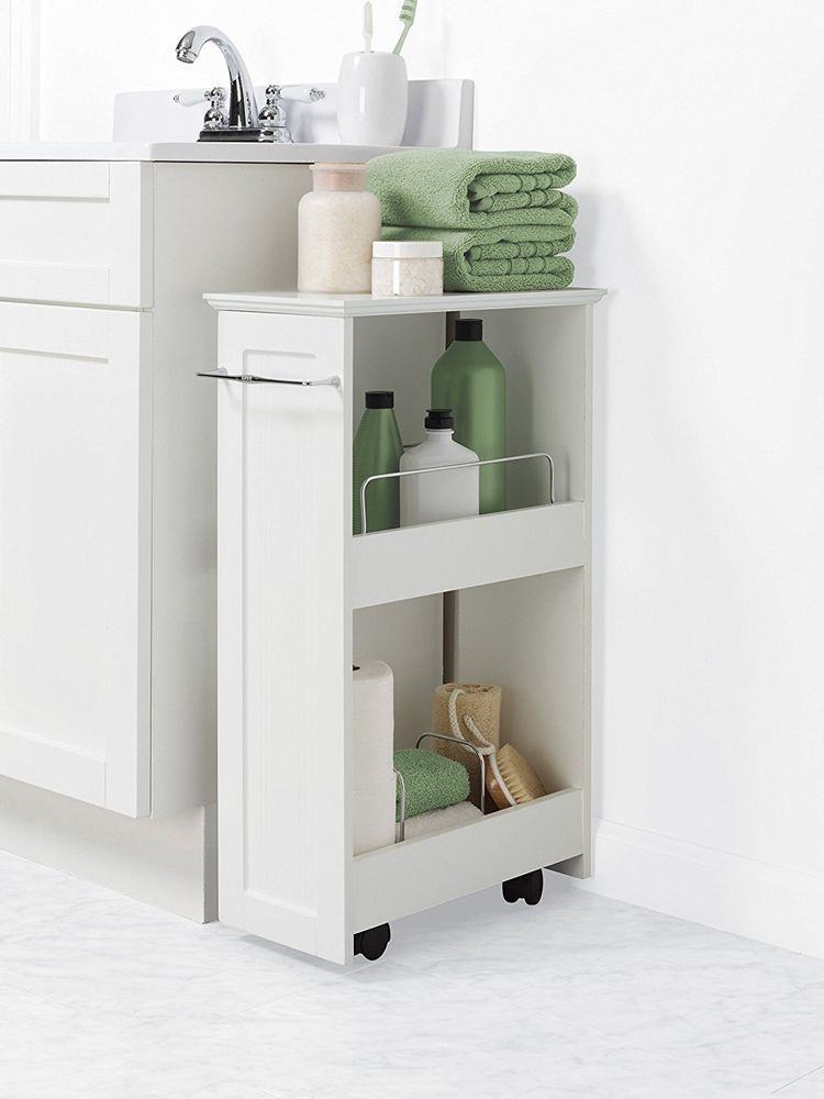 Details About Bathroom Floor Storage Rolling Cabinet Organizer