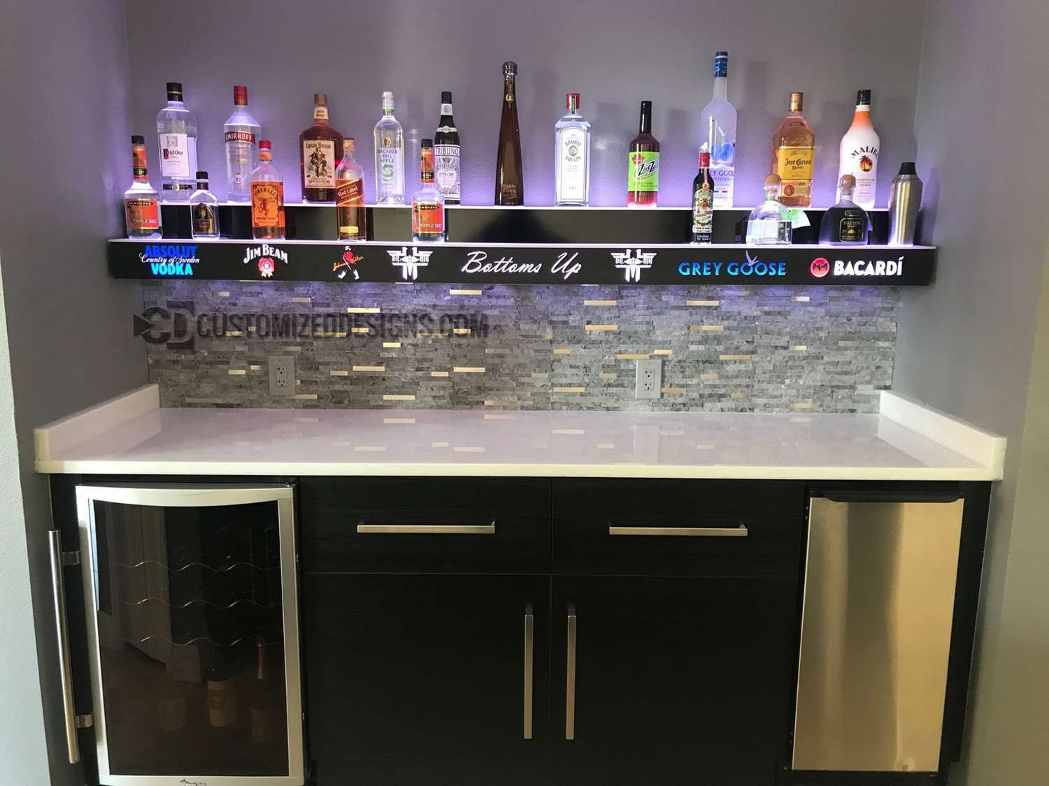 Wall Mounted 2 Tier Bar Display W Liquor Logos Customized Designs Bar Displays Wall Bar Home Bar
