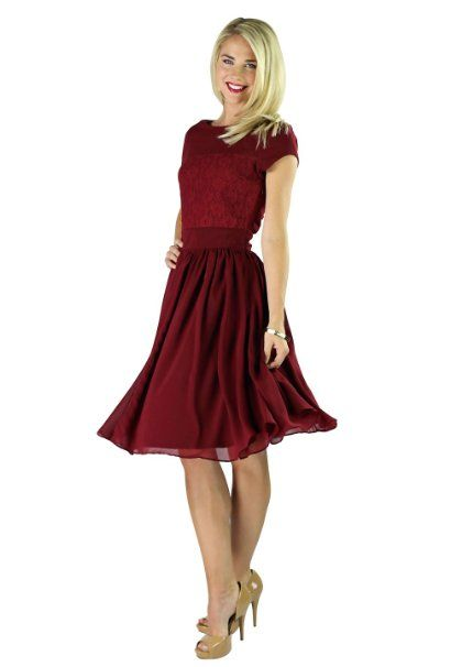 12270ecadcad Amazon.com: Womens Mikarose Knee Length Isabel Deep Red Short Sleeve Dress  - XS-2XL (0-20): Clothing