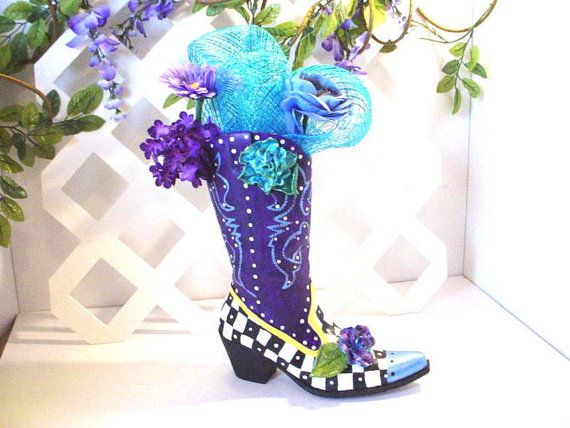 Funky Cowboy Boot Vase Western Boot Upcycled Boot Materials