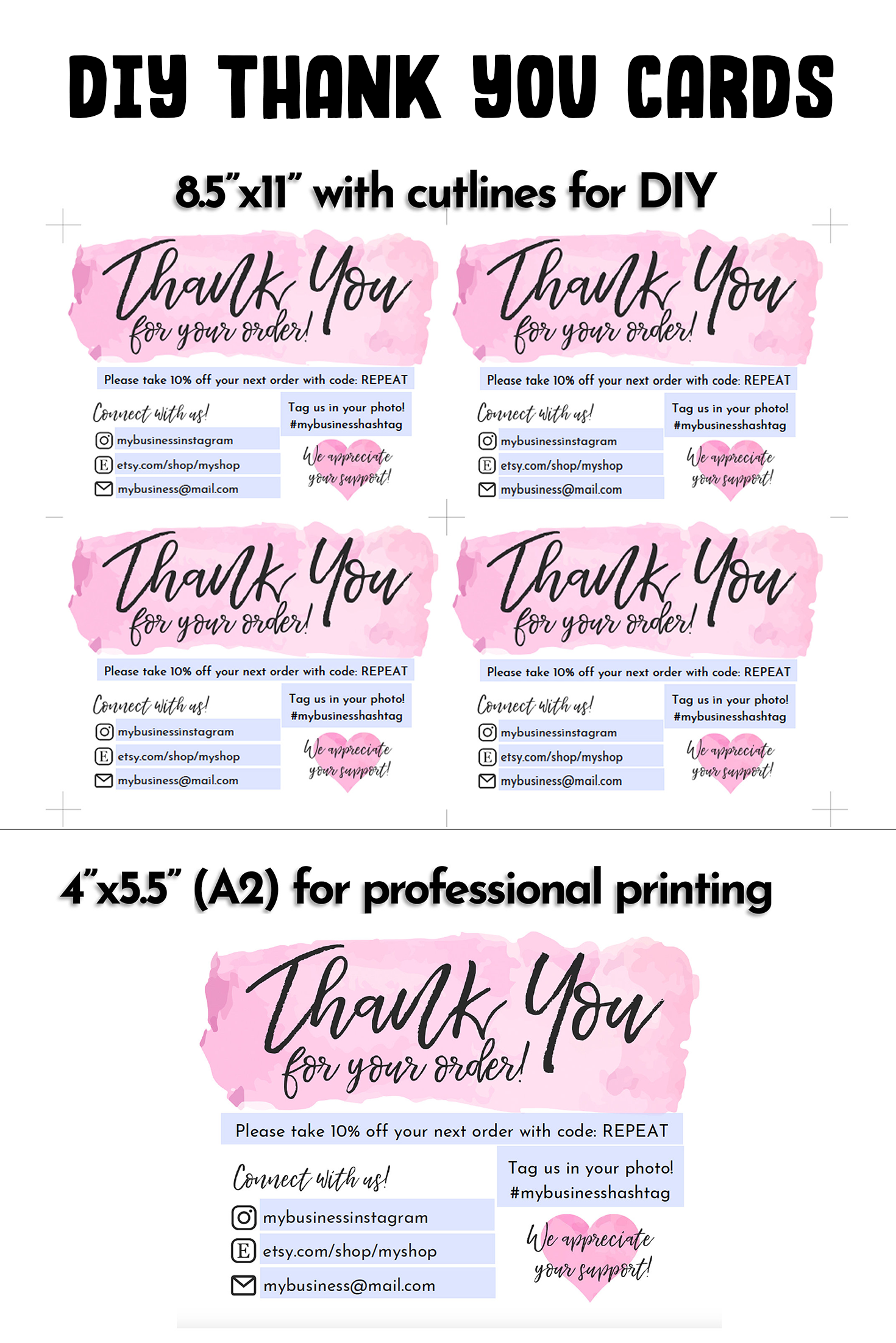 Instant Download Editable And Printable Thank You Card For Small Business With Your Logo Poshmark Thank You For Your Order Etsy Note Business Thank You Cards Thank You Cards