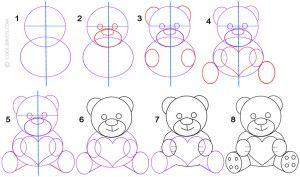 How To Draw A Teddy Bear Step By Step Art Craft Tutorials